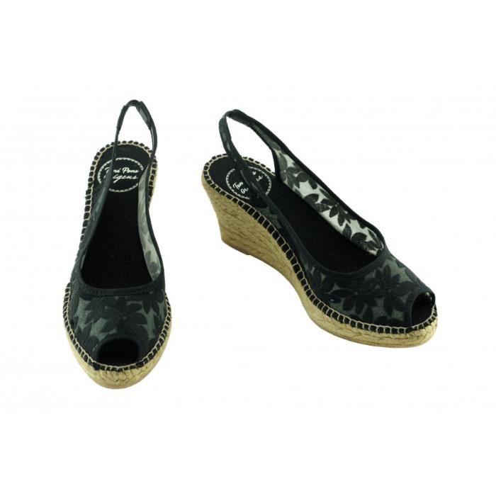 Cecile - Espadrille compensée Soie Sauvage tendance marque Toni PONS chaussures Femme petite pointure tailles toile noir
