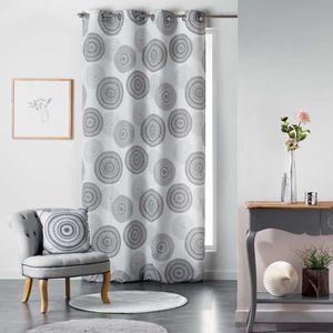rideaux noir et blanc a oeillets achat vente pas cher. Black Bedroom Furniture Sets. Home Design Ideas