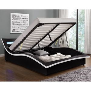 STRUCTURE DE LIT Lit Camden - Structure de lit en simili noir avec