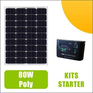 KIT PHOTOVOLTAIQUE Kit panneau solaire 80W Polycristallin 12V et régu