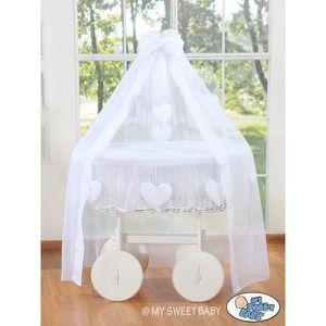 BERCEAU ET SUPPORT Berceau bébé osier blanc complet textile blanc ave