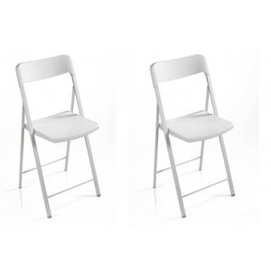 CHAISE Lot de 2 chaises pliantes KULLY blanches