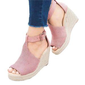 SANDALE - NU-PIEDS Minetom Femme Mode Sandale Peep Toe Talon Compensé