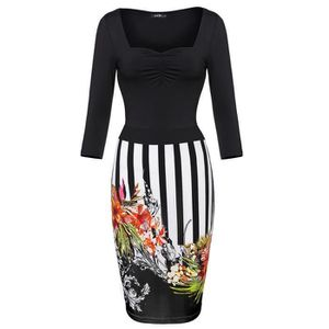 quality design 9a2ea 49ed6 femmes-robe-manches-3-4-couture-florale-robe-moula.jpg
