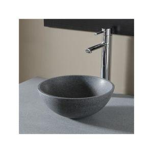Vasque à poser bol en pierre gris style rétro - Achat / Vente lavabo ...