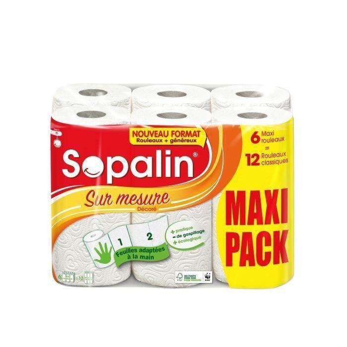 Lot de 6 - SOPALIN Essuie tout Sur Mesure Décoré 6=12 rouleaux classiques - 3 voiles - Megapack