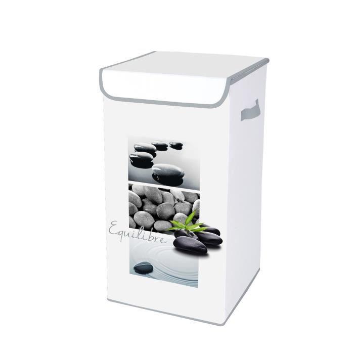 HOMEA Coffre à linge avec couvercle Stone 30x30x60 cm blanc et gris