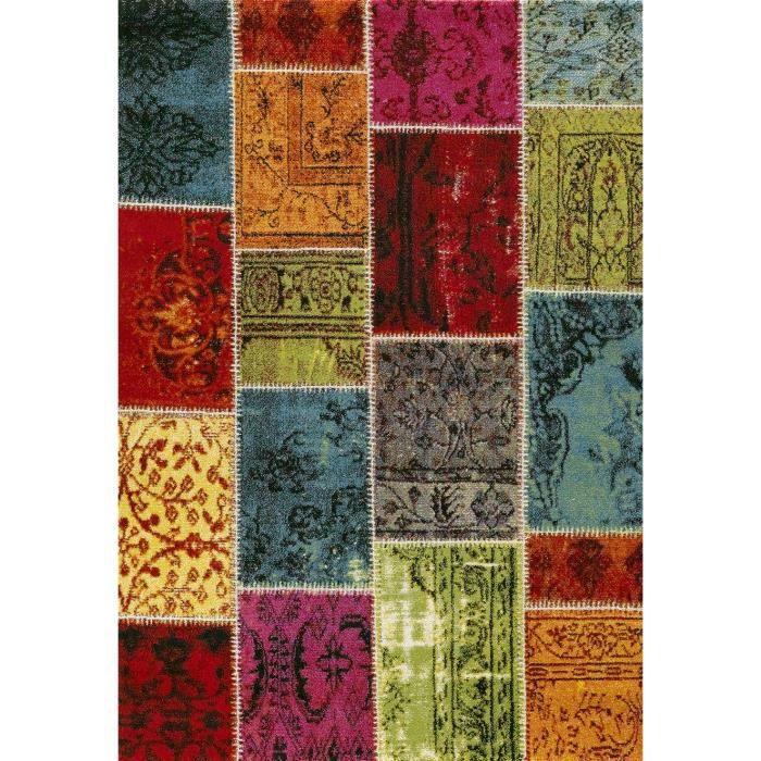 Tapis de salon Ethno 819 200x290 cm vert, orange, rouge et rose