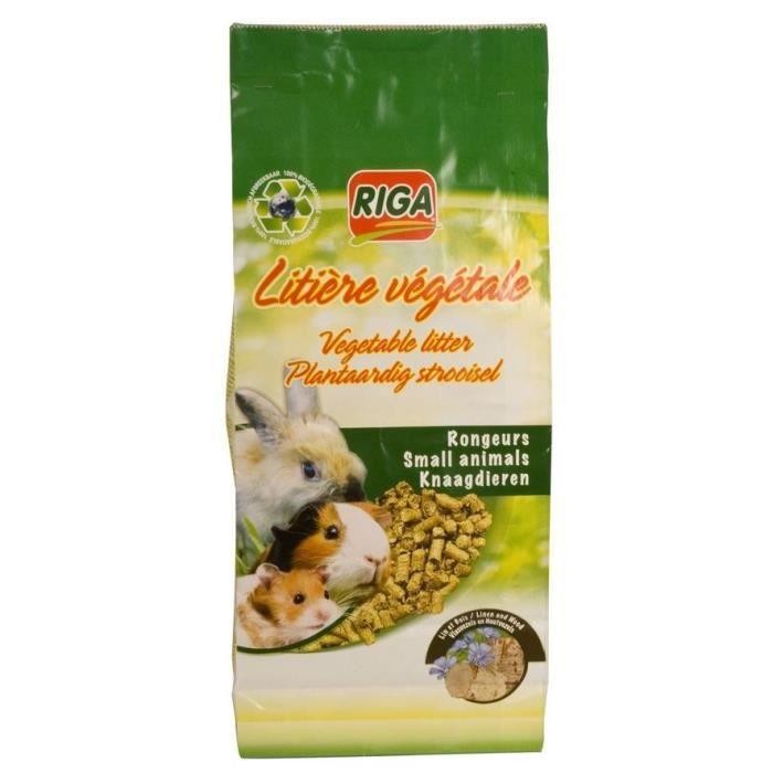 RIGA Litière végétale bois lin - Pour rongeur - 2200g