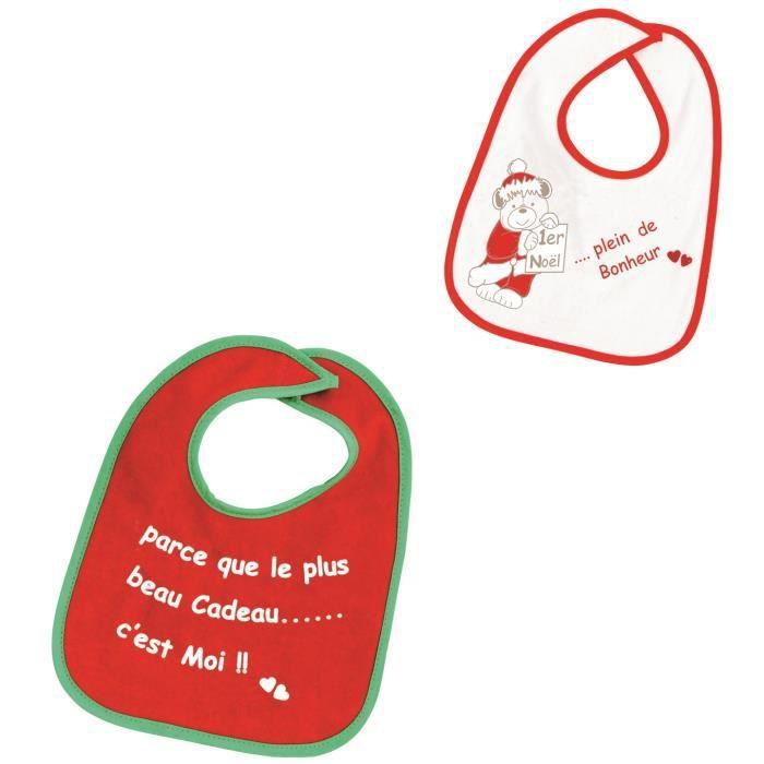 TROIS KILOS SEPT Lot de 2 bavoirs - Noël