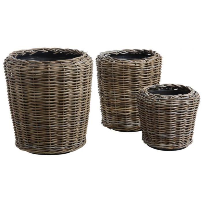 lot de 3 cache pot en osier avec bac plastique achat vente jardini re pot fleur lot de 3. Black Bedroom Furniture Sets. Home Design Ideas
