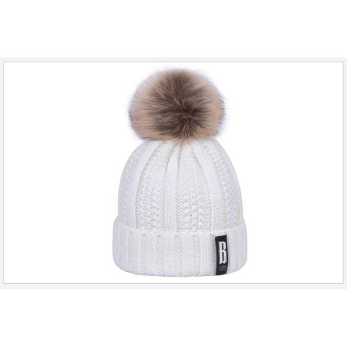 9c0d597d0b6 1 Bonnet POMPOM BLANC ECRU chaud et doux en tricot doublé polaire ultra  doux pour Femme-enfants fille - Idéal pour Ski ou sport