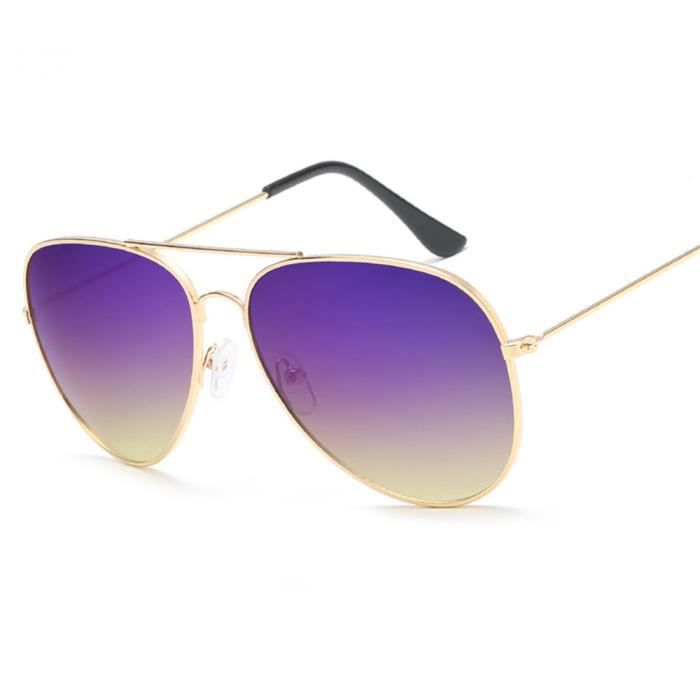 Lunettes de soleil mixte homme et femme Magnifique Métal Cadre sunglasses marque de Luxe Golden/Violet/Jaune