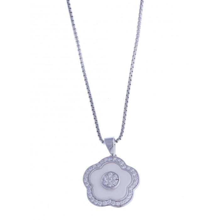 Collier en céramique blanche - argent rhodié fleur - zircons - 40 cm