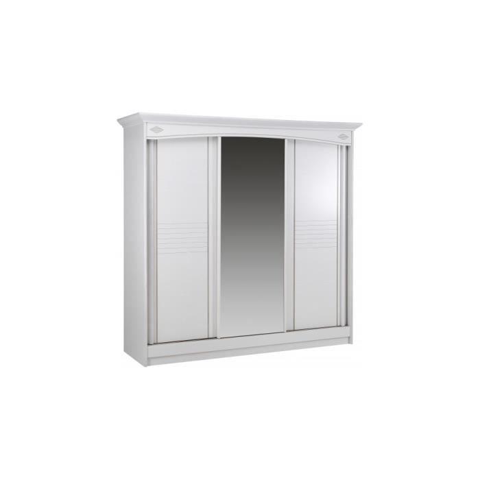 armoire blanche 3 portes coulissantes glace centrale achat vente armoire de chambre. Black Bedroom Furniture Sets. Home Design Ideas