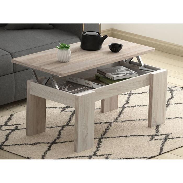 table basse ch ne l100 x l50 cm plateau relevable avec rangement gotham achat vente table. Black Bedroom Furniture Sets. Home Design Ideas