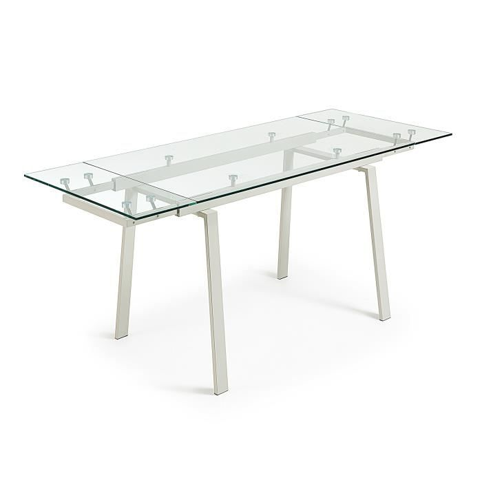 Table Extensible Punch 140(200)x80, perle verre transparent - Achat ... 02163f04f00c