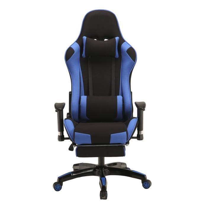 Fauteuil Dordinateur Gaming BleuChaise De Bureau Leve Reglable Inclinable Chaise Pivotante 360