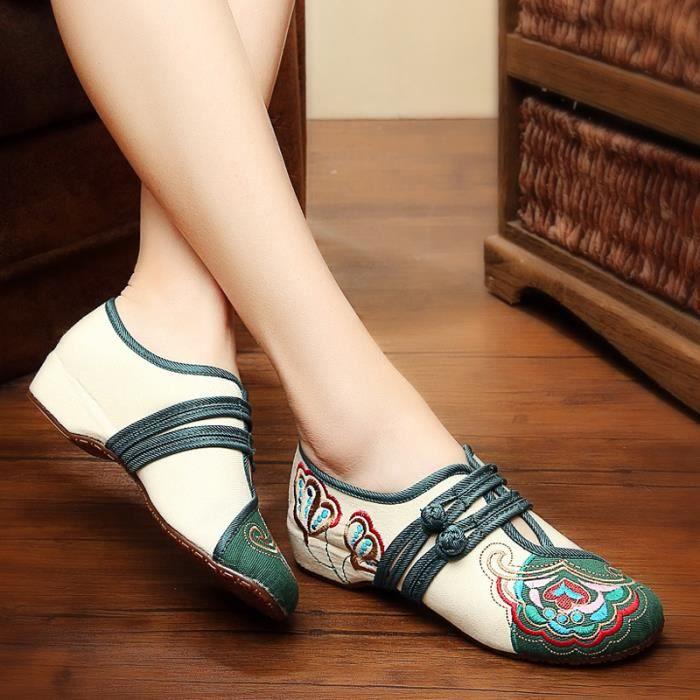 Style Chinois Rétro Tissu Broderie National Chaussures Vieux Femme Pékin wWFvnq7vX