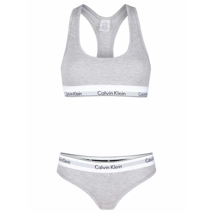 Calvin Klein Femme Set Bustier Bikini Slip GRIS Gris - Achat   Vente ... 5fca759d6df3