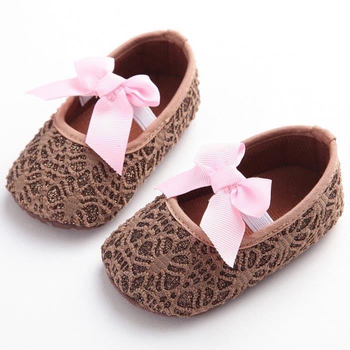 Frankmall®Fille berceau chaussures Modèle creux Noeud papillon semelle douce anti-dérapant bébé espadrilles MARRON#WQQ0926146 gHADh