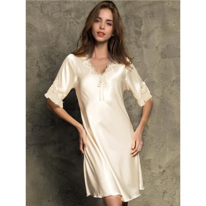 robe de sommeil des femmes ourlet floral col en V manches demi confortable robe de nuit