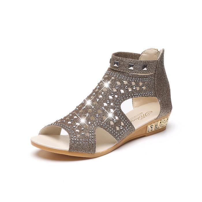 Or Poisson Femmes Sandales Chaussures 38 Bouche Compensées Creux De D'été 6BU8S