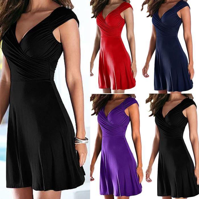 5d20f2c44b9 Mode Femmes A Line Robe de soirée V-Cou sans manches Populaire Rouge  AAX80419623RD