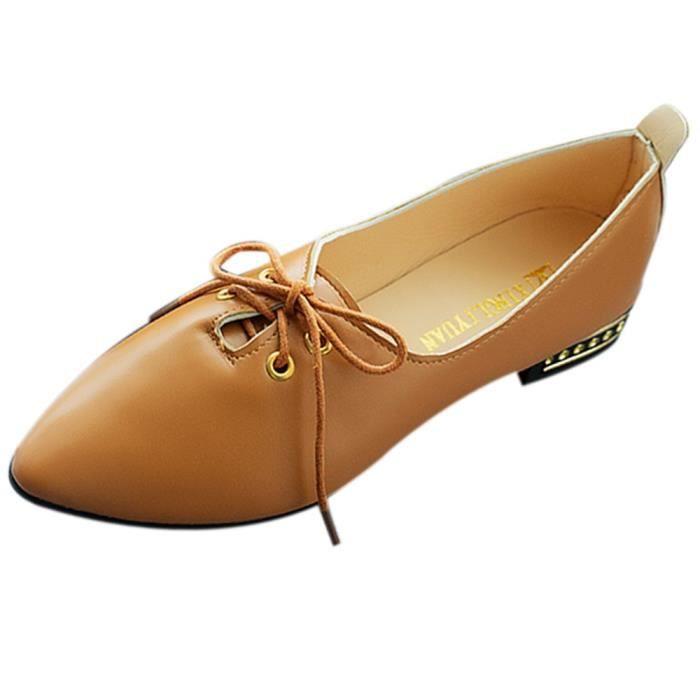Épaisses Kaki Talon Chaussures Escarpins Lacets Point Mode Britannique À Simple Féminine nRZSx84wq8