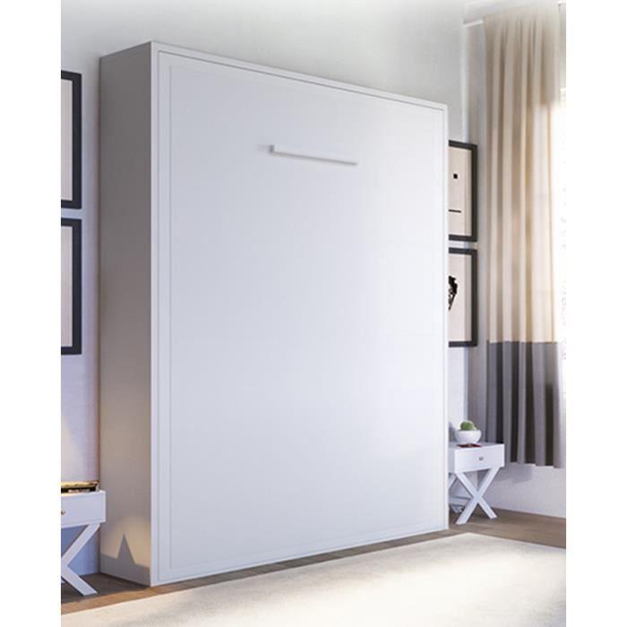 armoire lit escamotable joy 2 places 140 x 200 pie - Lit Armoire Escamotable Pas Cher