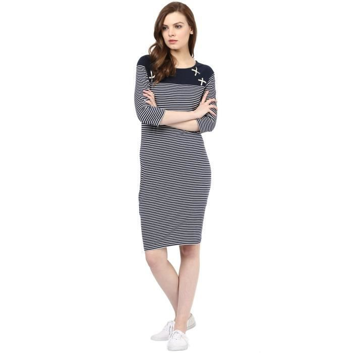 Womens Knit Navy & White Stripped Bodycon Dress (ml4002d01) S8DWF Taille-34