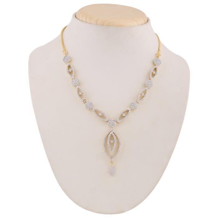 Womens American Diamond Aaa Cz Zircon Fashion Jewellery Set Necklace Earrings ForE17YU