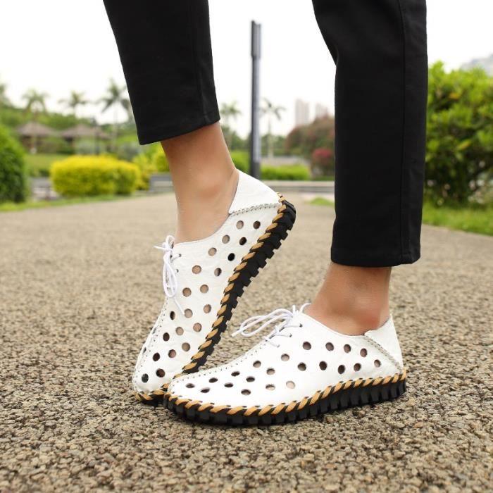 Chaussures creux véritable d'été en cuir hommes Flats Mocassins Respirant Casual Homme Chaussure Cuir véritable Hommes Mocassins IHoYF