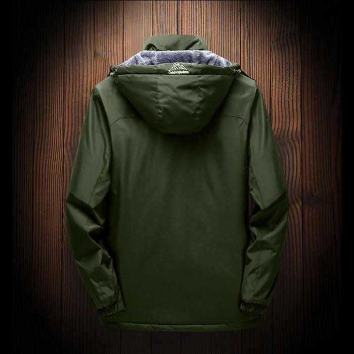 Verte D'hiver D'extérieur Cachemire En Épaississement Armée Hommes À Extérieur Capuche Sport Manteau Assault Zipper UqdOfRn