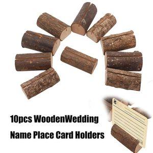 MARQUE-PLACE  10pcs Décoration de mariage Nom en bois Porte-cart
