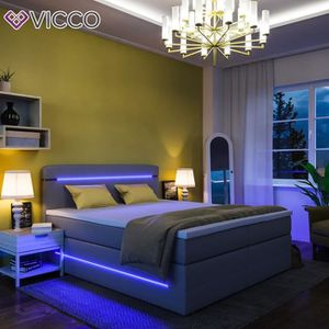 LIT COMPLET Lit Boxspring LED lit double 180 x 200 gris MADE I