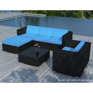 Salon de jardin bas 6 places résine tressée AKIRA Noir et bleu ...