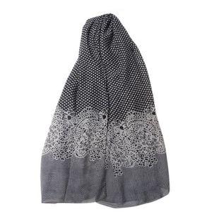 ECHARPE - FOULARD Foulard femme imprimé pois et floral noir et blanc 73ae5c455a9