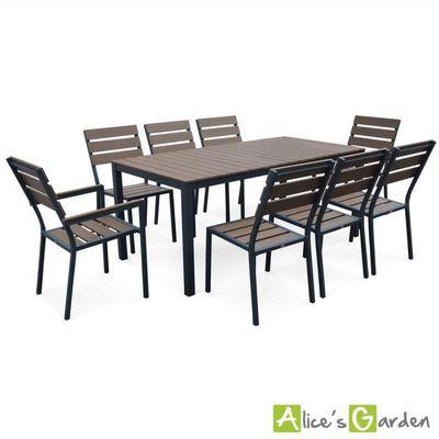 Salon de jardin MONACO en bois composite et aluminium, table 180cm ...