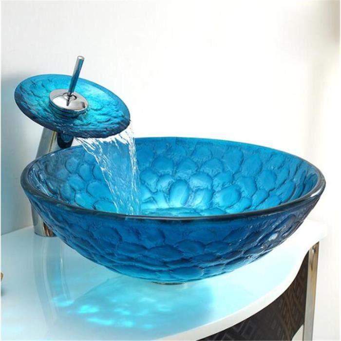FFJTS Lavabo en verre trempé Salle de bain Lavabo rond - Bleu ciel ...