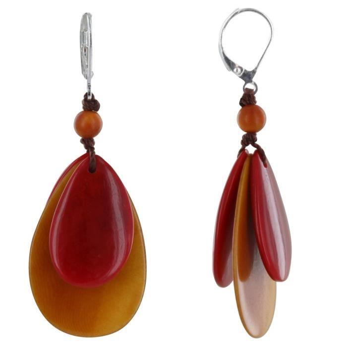 Les Poulettes Bijoux - Boucles dOreilles Inca en Tagua Bicolore - Orange