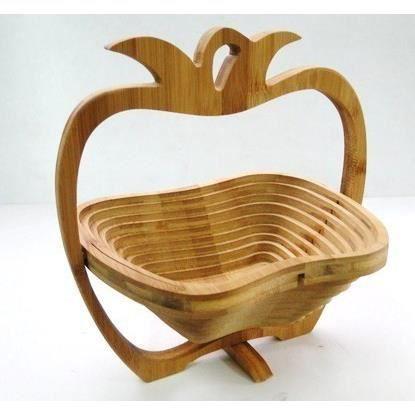 corbeille coupe fruits en bois de bambou pliable dessous. Black Bedroom Furniture Sets. Home Design Ideas
