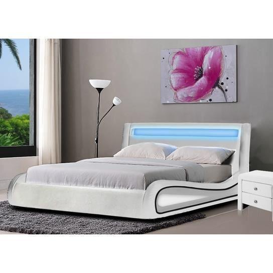 Lit design led blanc 140 achat vente lit complet lit for Lit design complet