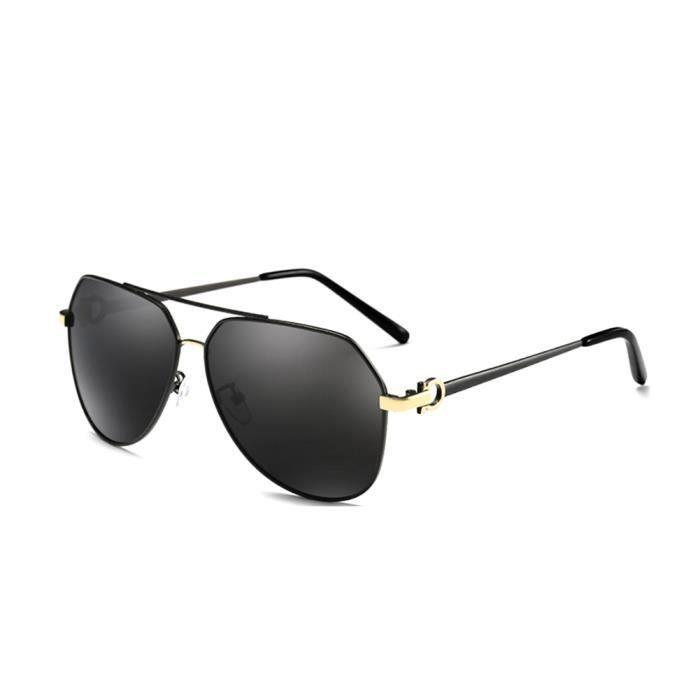 nouveau design ramassé date de sortie: Lunettes de soliel homme polarisée lunette aviateur film bleu, monture  noir,branche or, verre grise - GAMT