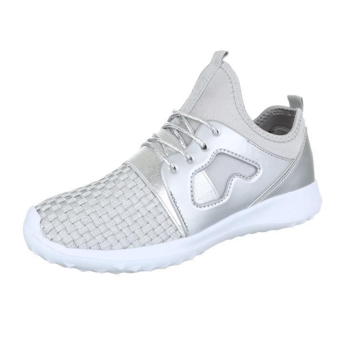 femme chaussures décontractées chaussure coureur chaussure de sportBaskets argent