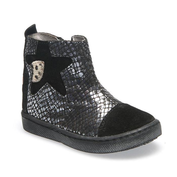 24cc5c4f5625af GBB Boots fille cuir noir-argent LIAT Noir Noir - Achat / Vente ...