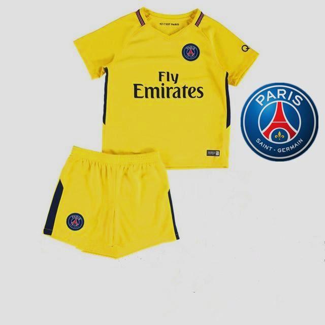 2017 18 Paris Saint Germain Enfant Suit PSG Équipe Enfant Maillot de  Football Tops + Shorts 7b0397b70af