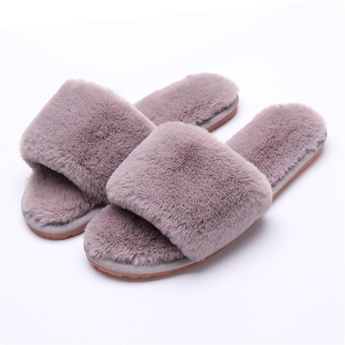 chaussons femme pour hiver nouvelle mode chaussure chaud Peluche courte léger version pantoufles femmes Plusie dssx377gris37 xK6z92N