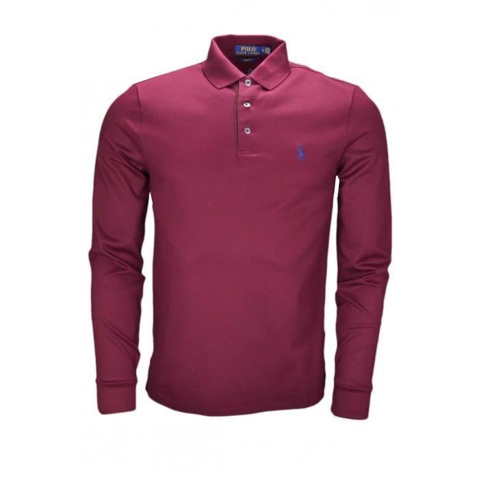 3937c9014e4415 Polo manches longues Ralph Lauren rouge bordeaux pour homme - Taille  S -  Couleur  Rouge