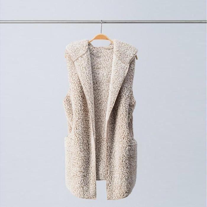 Gilet femmes Bl4783 Zip Sherpa Chaud Fourrure Outwear En Casual Manteau Coierbr D'hiver Fausse À Jacket Capuche qT5xAd